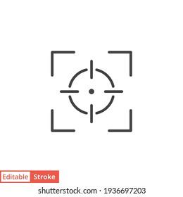Camera focus frame line icon. Simple outline style. Cross, digital lens, photo, center, goal, target concept symbol design. Vector illustration isolated on white background. Editable stroke EPS 10.