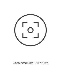 Camera focus line icon, outline vector sign, linear style pictogram isolated on white. Symbol, logo illustration. Editable stroke