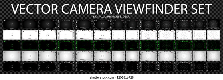Camera focusing screen 65 in 1 pack - digital, mirorless, DSLR, cameraphone. White, black and green viewfinders camera recording. 4K ready detailed templates. Vector illustration