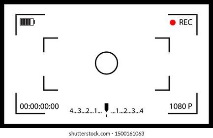 Camera frame. Interface viewfinder. Screen of video recorder digital display.