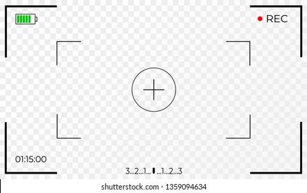 Camera frame viewfinder screen of video recorder digital display. Transparent background. Vector illustration EPS10