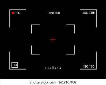 Camera frame viewfinder screen of video recorder digital display interface. Camera viewfinder. Recording. Vector Illustration.