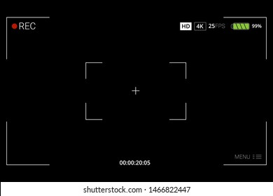 Camera frame viewfinder vector screen of video recorder