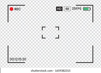 Camera frame viewfinder vector screen of video recorder digital display with photo camera frames with transparent background. Eps 10 vector illustration.