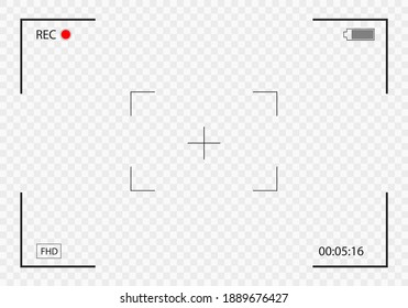 Camera frame viewfinder. Video recording screen. Photo camera viewfinders. Modern focusing screen. Vector illustration.