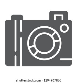 Camera glyph icon, lens and photo, photocamera sign, vector graphics, a solid pattern on a white background, eps 10.