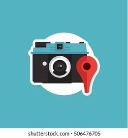 Camera GPS Icon Vector Graphic