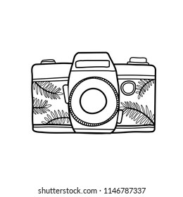 Camera hand drawn design; vector line icon,  graphic symbol isolated on white. Boho style.