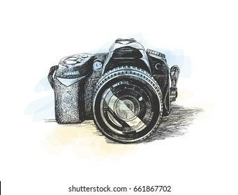 camera, Hand Drawn Sketch Vector illustration.