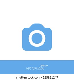 Camera icon in flat style isolated on white background. Camera symbol for your design and logo. Vector illustration EPS 10.