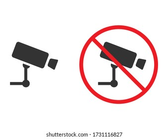 Camera icon with forbidden red sign. No photo or video permission. Caution or warning icon to prevent using camera. Prohibited symbol in red color. Alert information. Attention of restriction
