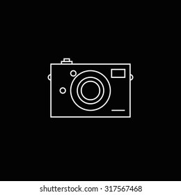 Camera icon outline on black