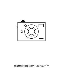 Camera icon outline on white