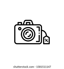 Camera Icon Outline Vector. Holiday Sale Icons. Online Shop Ikon.