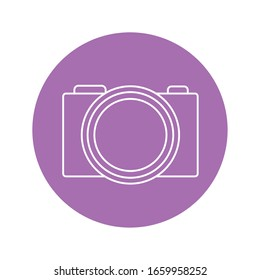 camera icon over purple circle and white background, vector illustration