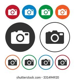 Camera icon. Photo icon. Button. Vector Illustration