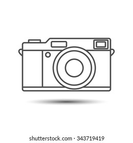 Camera icon. Retro vintage camera icon in gray colors - stock vector illustration