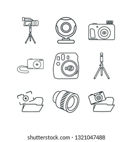 camera icon set. digital camera icon photo and camera lens photo vector icons.