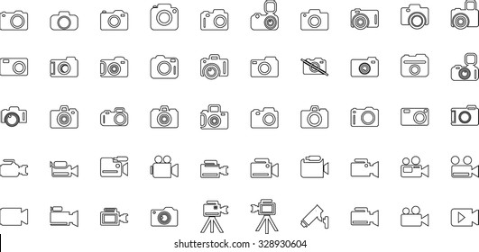 Camera Icon Set. Photography icon set. Security Camera Icon. photo and video icons. multimedia icon set. Flat Outline Vector icons