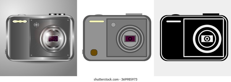 Camera icon set: realistic, flat, black