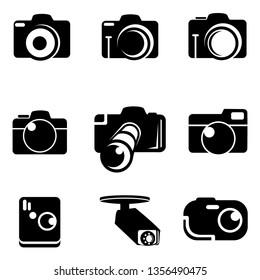 Camera icon set. Vector illustration. Trendy flat design style on white background.