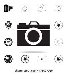 camera icon with shadow. Set of Photo elements icon. Photo camera quality graphic design collection icons for websites, web design, mobile app on white background