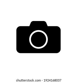 Camera icon symbol. Photograph sign. Simple flat shape logo. Black silhouette isolated on white background. Vector illustration image.