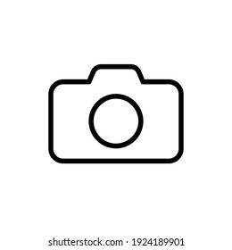 Camera icon symbol. Photograph sign. Simple flat shape logo. Black outline silhouette isolated on white background. Vector illustration image.