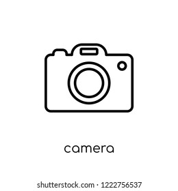 camera icon. Trendy modern flat linear vector camera icon on white background from thin line Electronic devices collection, outline vector illustration