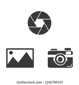 Camera icon vector set with shutter or diaphragm,objective and photos,picture flat sign symbols logo illustration isolated on white background black color.Concepts for photography,web,app mobile.