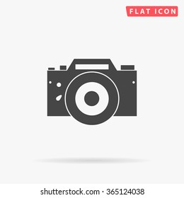 Camera Icon Vector. Simple flat symbol. Perfect Black pictogram illustration on white background.