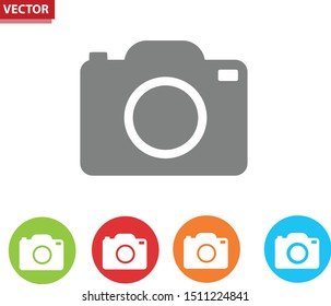 Camera Icons. Color Camera Symbol Vector. Illustration. EPS 10