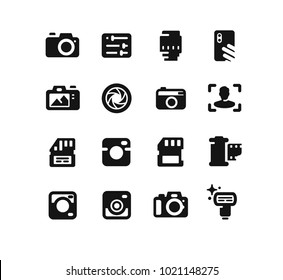 Camera icons on white background. Vector set
