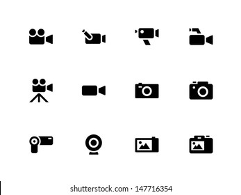 Camera icons on white background. Vector illustration.