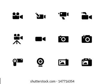 Camera icons on white background. Vector illustration.