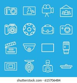 Camera icons set. set of 16 camera outline icons such as movie clapper, burst, photo