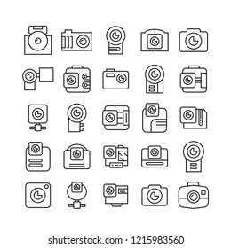camera icons set, line design