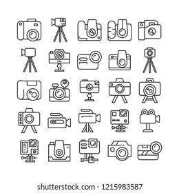 camera icons set, line design