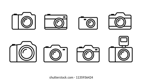 Camera icons set, Simple flat outline design isolated on white background, Vector illustration