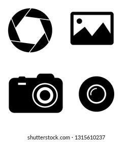 camera icons set.   Set camera symbols for web design. Picture icon, lens