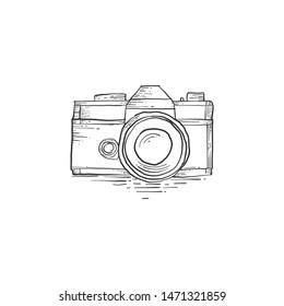 camera illustration design, hand draw, camera illustration