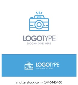 Camera, Image, Photo, Photography Blue Outline Logo Place for Tagline