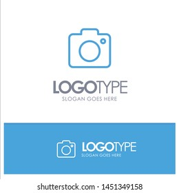 Camera, Image, Photo, Picture Blue Outline Logo Place for Tagline