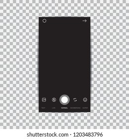 Camera interface frame with flat icons isolated on black background.
