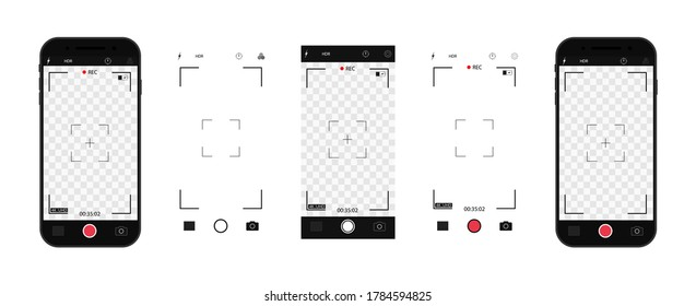 Camera interface in phone screen. Photo, video ui in cellphone. App for record from mobile cam. Viewfinder, grid, focus, button and rec. Smartphone mockup for photography, selfie and video. Vector.