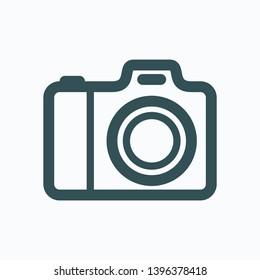 Camera isolated icon, digital photo camera outline vector icon