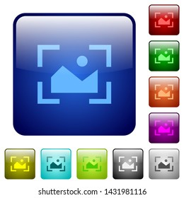 Camera landscape mode icons in rounded square color glossy button set
