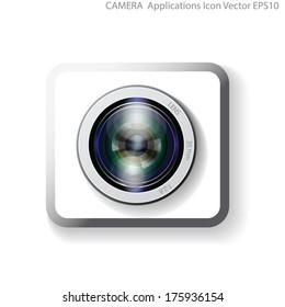 camera lens application vector, webcam lens sign icon