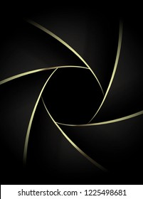 Camera lens close up with golden shutter blades. Wedding photography or videography concept. Gold on black