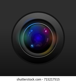 Camera lens with colorful reflect, vector design.
